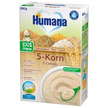 Каша Humana безмолочна органічна цільнозернова 5 злаків, 200 г