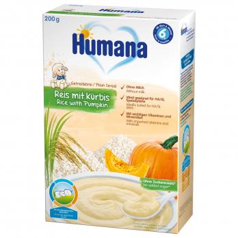 Каша Humana безмолочна рисова з гарбузом, 200 г