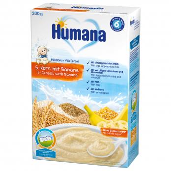 Каша Humana молочна 5 злаків з бананом, 200 г