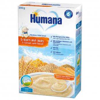 Каша Humana молочная 5 злаков с печеньем, 200 г