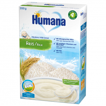 Каша Humana молочная рисовая, 200 г