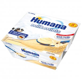 Пудинг Humana манный с ванилью, 4 x 100 г