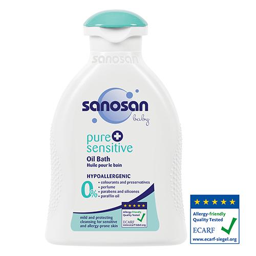 Sanosan pure + sensitive Детское гипоаллергенное масло для купания, 200 мл