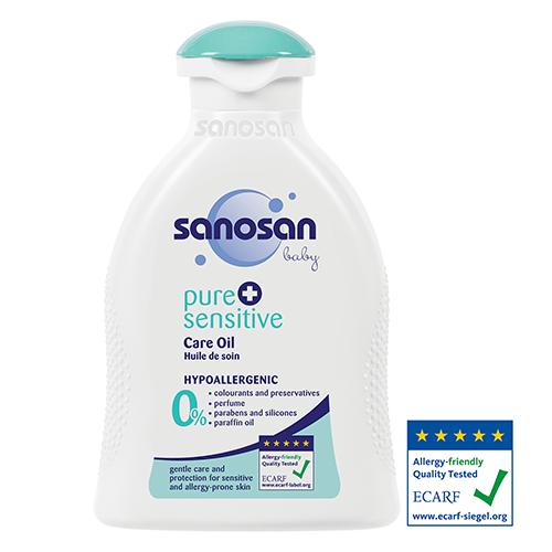 Sanosan pure + sensitive Дитяча гіпоалергенна олійка для чутливої шкіри, 200 мл